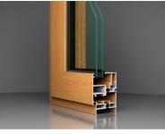 Profil aluminiu cu geam termopan imitatie stejar